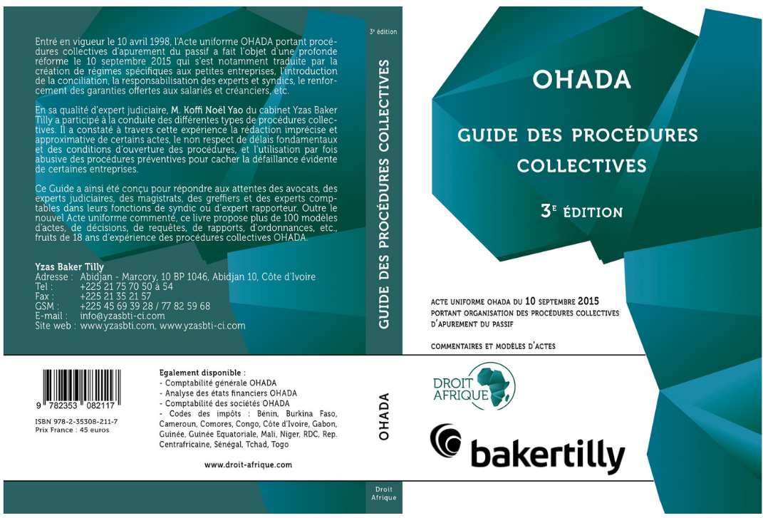 Couverture guide procédures collectives ohada